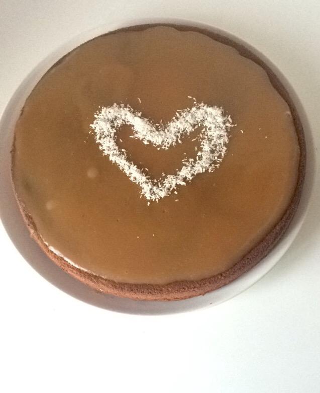 Moelleux chocolat coeur coco nappage caramel