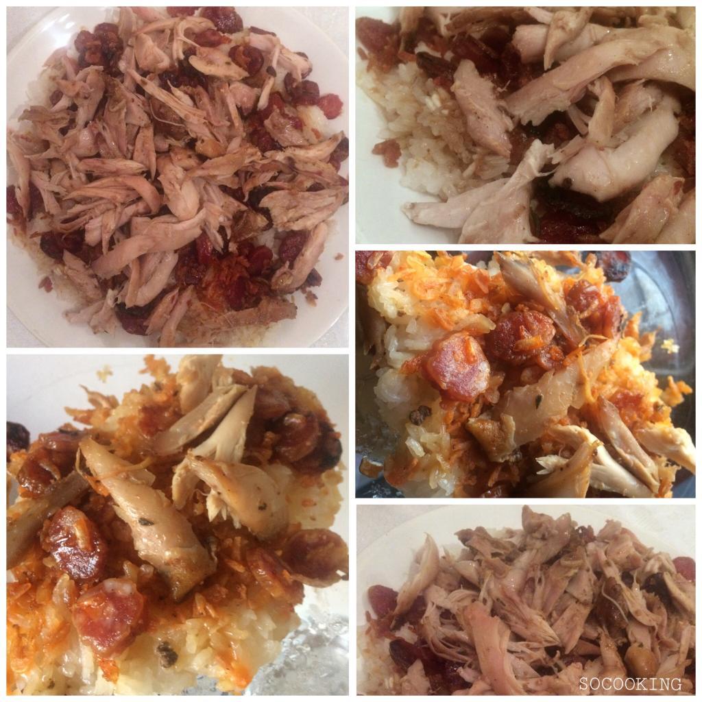 Riz gluant au poulet et saucisses chinoises