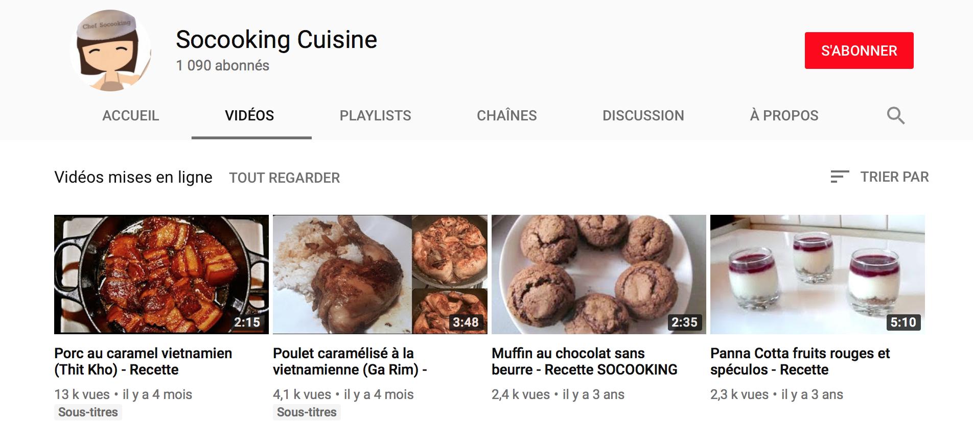 Chaine youtube socooking cuisine